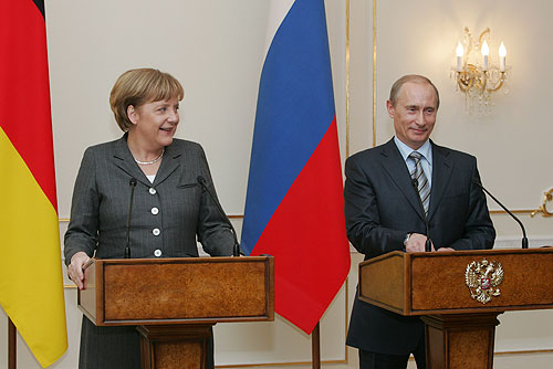 Angela Merkel in Vladimir Putin