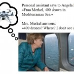 Political joke about Angela Merkel and 400 drones