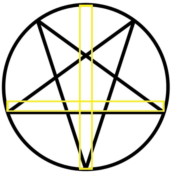 zdruzena_cerkveni_kriz_in_pentagram_obrnjeno