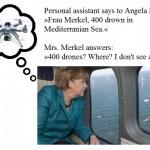 Political joke about Angela Merkel and 400 drones